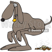 Clipart of a Cartoon Brown Dog Straining to Poop - Royalty Free Vector Illustration © djart #1388397