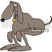 Clipart of a Cartoon Brown Dog Straining and Pooping - Royalty Free Vector Illustration © djart #1388993
