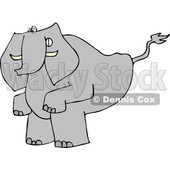 Clipart of a Cartoon Elephant Squatting to Poop - Royalty Free Vector Illustration © Dennis Cox #1388994