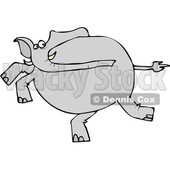 Clipart of a Cartoon Gray Elephant Running - Royalty Free Vector Illustration © djart #1389403