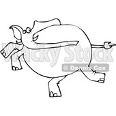 Clipart of a Cartoon Black and White Lineart Elephant Running - Royalty Free Vector Illustration © djart #1389404