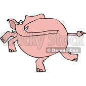 Clipart of a Cartoon Pink Elephant Running - Royalty Free Vector Illustration © djart #1389405