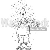 Clipart of a Cartoon Black and White Lineart Man Putting on Bug Repellant Spray - Royalty Free Vector Illustration © djart #1389408