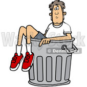 Clipart of a Cartoon White Boy in a Trash Can - Royalty Free Vector Illustration © Dennis Cox #1389535