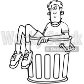 Clipart of a Cartoon Black and White Lineart Boy in a Trash Can - Royalty Free Vector Illustration © djart #1389536