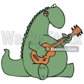Big Green Musical Dinosaur Singing and Strumming a Guitar Clipart Illustration © djart #13900