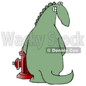 Mischievous Green Dinosaur Looking Back Over His Shoulder and Grinning While Peeing on a Fire Hydrant Clipart Illustration © djart #13901