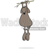 Clipart of a Cartoon Brown Dog Hanging from a Branch - Royalty Free Vector Illustration © djart #1391244