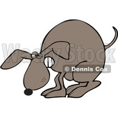 Clipart of a Cartoon Constipated Brown Dog Straining and Pooping - Royalty Free Vector Illustration © djart #1391246