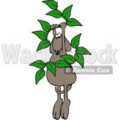 Clipart of a Cartoon Brown Dog Hanging from a Leafy Vine - Royalty Free Vector Illustration © djart #1391248
