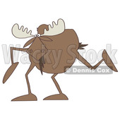 Clipart of a Cartoon Moose with Long Legs - Royalty Free Illustration © djart #1391331