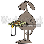 Toon Clipart of a Brown Dog Holding a Tsa Tray of Accessories - Royalty Free Vector Illustration © djart #1392131