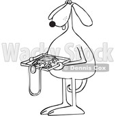 Toon Clipart of a Black and White Lineart Dog Holding a Tsa Tray of Accessories - Royalty Free Vector Illustration © djart #1392132
