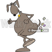 Toon Clipart of a Brown Dog Walking Upright and Farting - Royalty Free Vector Illustration © djart #1392133