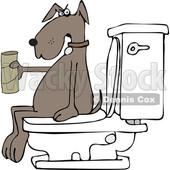 Clipart of a Cartoon Brown Dog out of Tp, Sitting on a Toilet - Royalty Free Vector Illustration © Dennis Cox #1392211