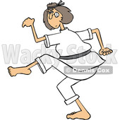 Clipart of a Cartoon Caucasian Martial Artist Karate Woman - Royalty Free Vector Illustration © djart #1392885