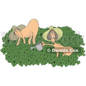 Clipart of a Cartoon Happy Caucasian Couple in the Nude on Naked Gardening Day - Royalty Free Illustration © djart #1394147