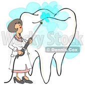 Clipart of a Cartoon Caucasian Female Dentist Power Washing a Tooth - Royalty Free Illustration © Dennis Cox #1394151