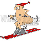 Clipart of a Cartoon Happy Caucasian Guy Skiing Naked - Royalty Free Vector Illustration © djart #1394152