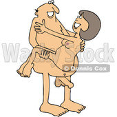 Clipart of a Cartoon Naked White Man Carrying a Woman - Royalty Free Vector Illustration © djart #1395098