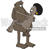 Clipart of a Cartoon Naked Black Man Carrying a Woman - Royalty Free Vector Illustration © djart #1395099