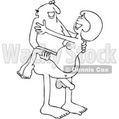 Clipart of a Cartoon Black and White Lineart Nude Man Carrying a Woman - Royalty Free Vector Illustration © Dennis Cox #1395100