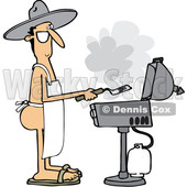Clipart of a Cartoon Nude White Man Wearing an Apron and Cooking on a Bbq Grill - Royalty Free Vector Illustration © Dennis Cox #1395834