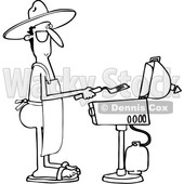 Clipart of a Cartoon Black and White Nude Man Wearing an Apron and Cooking on a Bbq Grill - Royalty Free Vector Illustration © djart #1395835