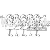 Clipart of a Cartoon Black and White Lineart Chorus Line of Senior Ladies Dancing the Can Can - Royalty Free Vector Illustration © djart #1396159