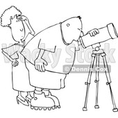 Clipart of a Cartoon Black and White Lineart Chubby Male Astronomer and His Wife Looking Through a Telescope - Royalty Free Vector Illustration © djart #1396638
