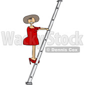 Clipart of a Cartoon White Business Woman Climbing a Ladder - Royalty Free Vector Illustration © djart #1396922