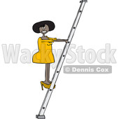 Clipart of a Cartoon Black Business Woman Climbing a Ladder - Royalty Free Vector Illustration © djart #1396923