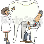 Clipart of a Cartoon Caucasian Male and Female Dentist Holding up a Giant Tooth - Royalty Free Vector Illustration © djart #1396925