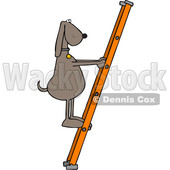 Clipart of a Cartoon Brown Dog Climbing a Ladder - Royalty Free Vector Illustration © djart #1397415