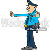 Clipart of a Cartoon Caucasian Male Police Officer Blowing a Whistle and Directing Traffic - Royalty Free Vector Illustration © djart #1397416