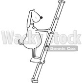Clipart of a Cartoon Black and White Lineart Dog Climbing a Ladder - Royalty Free Vector Illustration © djart #1397418