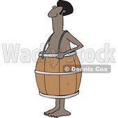 Clipart of a Cartoon Poor Nude Black Man Wearing a Barrel - Royalty Free Vector Illustration © Dennis Cox #1399744