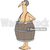Clipart of a Cartoon Poor Nude White Man Wearing a Barrel - Royalty Free Vector Illustration © djart #1399746
