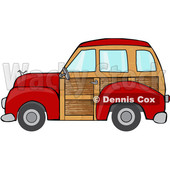 Clipart of a Red Woodie Station Wagon Car - Royalty Free Vector Illustration © Dennis Cox #1400077