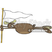 Cartoon Clipart of a Moose Holding onto a White Flag Post in a Wind Storm - Royalty Free Vector Illustration © Dennis Cox #1400173