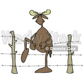 Cartoon Clipart of a Moose Climbing over Barbed Wire - Royalty Free Vector Illustration © djart #1400176