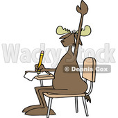 Clipart of a Cartoon Moose Student Raising His Hand at a School Desk - Royalty Free Vector Illustration © djart #1400834