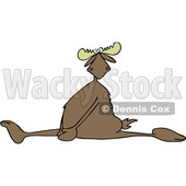 Clipart of a Cartoon Moose Doing the Splits, with a Painful Expression - Royalty Free Vector Illustration © djart #1400838