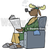 Clipart of a Cartoon Moose Smoking a Pipe and Reading a Newspaper in a Chair - Royalty Free Vector Illustration © djart #1401014