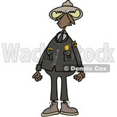 Clipart of a Cartoon Moose Ranger in Uniform, Standing Upright - Royalty Free Vector Illustration © djart #1401017