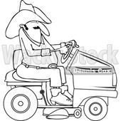 Clipart of a Lineart Chubby Cowboy Riding a Red Lawn Mower - Royalty Free Vector Illustration © djart #1401053