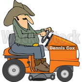 Clipart of a Chubby Cowboy Riding an Orange Lawn Mower - Royalty Free Vector Illustration © djart #1401054