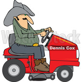 Clipart of a Chubby Cowboy Riding a Red Lawn Mower - Royalty Free Vector Illustration © Dennis Cox #1401055