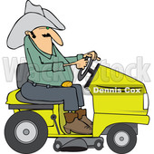 Clipart of a Chubby Cowboy Riding a Yellow Lawn Mower - Royalty Free Vector Illustration © djart #1401056