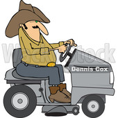Clipart of a Chubby Cowboy Riding a Gray Lawn Mower - Royalty Free Vector Illustration © Dennis Cox #1401057